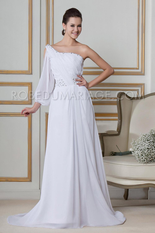 asym trique manche longue ouverte robe de mari e plage chiffon robe205929. Black Bedroom Furniture Sets. Home Design Ideas