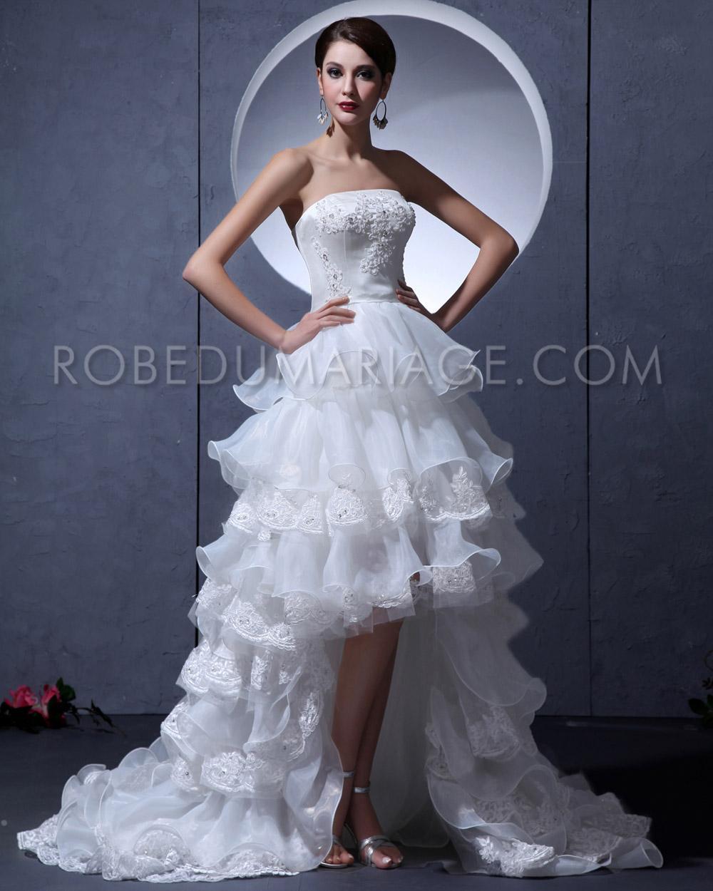 robe de mariée asymétrique multi-couches bustier organza pas cher ...
