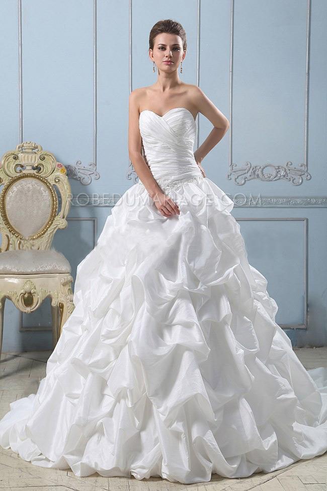 robe de mari e princesse bustier fronc e taffetas tra ne