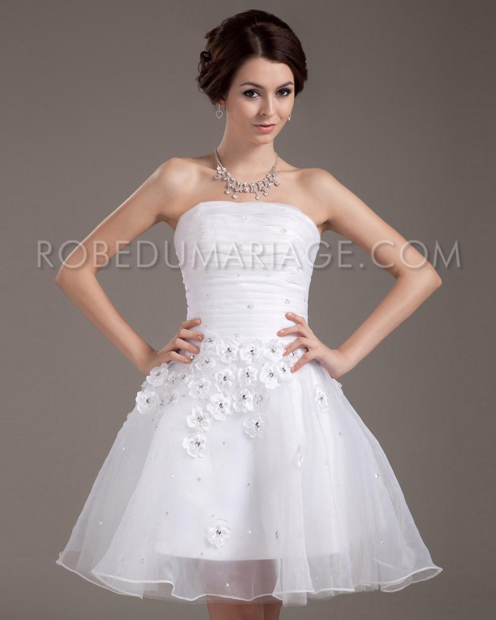 ... mariée civile > Bustier robe de mariée civil organza fleurs pas cher