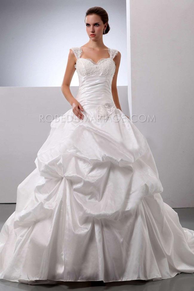 Robe de mariée princesse fleurs drapée taffetas traîne col en coeur ...