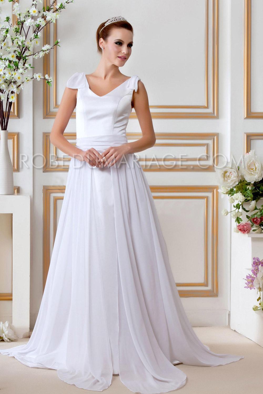robe de mari e grande taille noeud papillon chiffon col en v robe205302. Black Bedroom Furniture Sets. Home Design Ideas