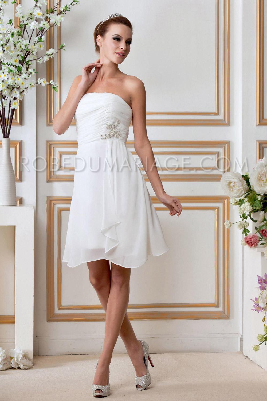 2640df6d0a5bb Civil robe mariage pas cher chiffon courte décolletée   ROBE205900 ...