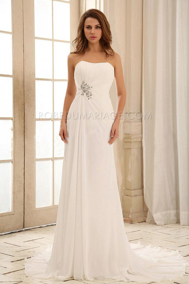 robe de mari e plage sans bretelle fronc e applique chiffon tra ne robe205642. Black Bedroom Furniture Sets. Home Design Ideas