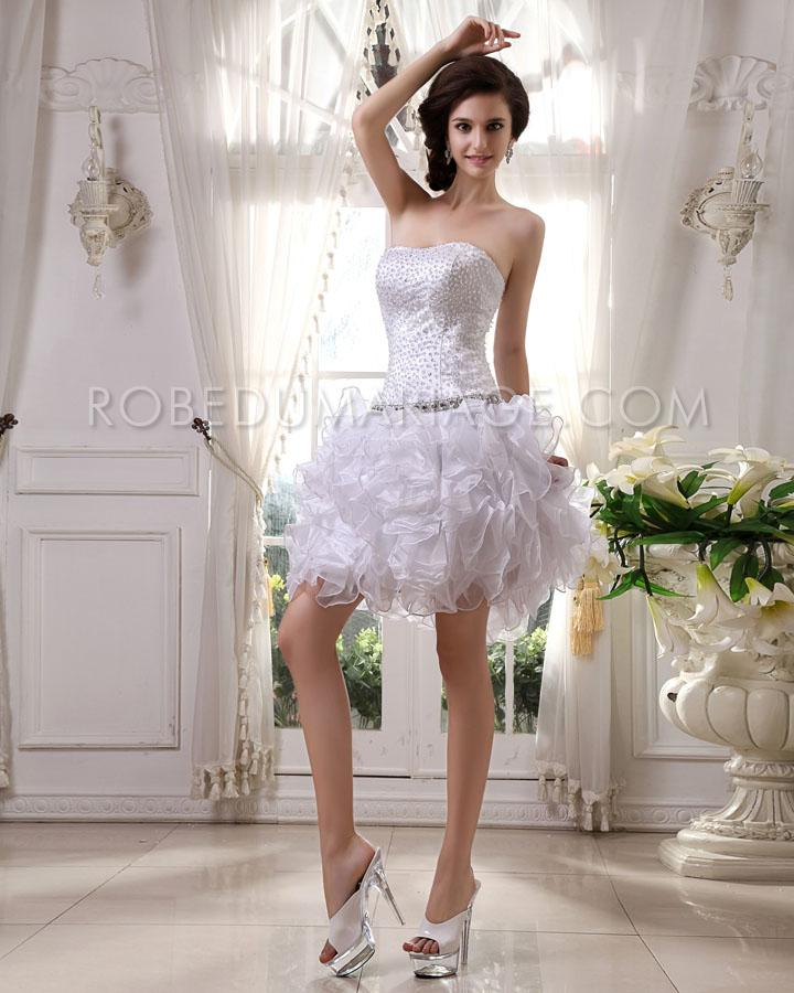 Boule Robe De Mariée Courte Jupe Multi Couches Ornée De