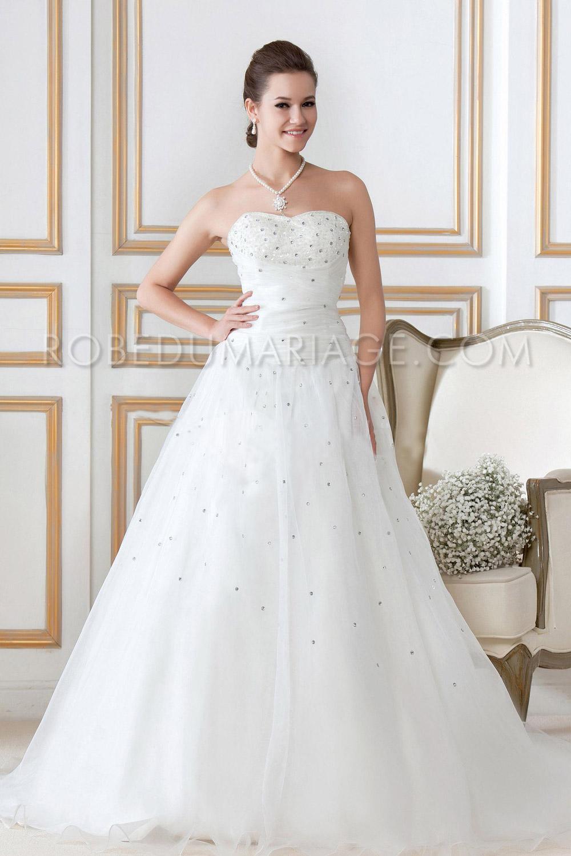 mariage > Robe de mariée princesse > Bustier décolletée paillettes ...