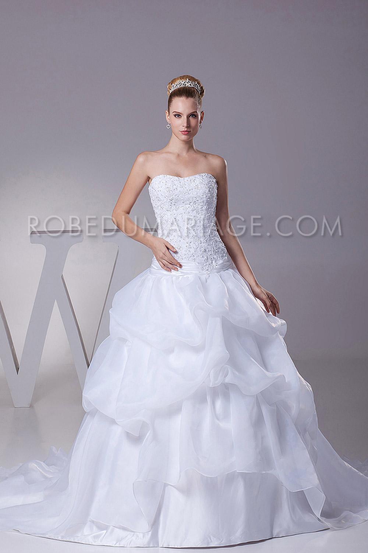 robe de mari e classique pas cher bustier bouffante organza robe206126