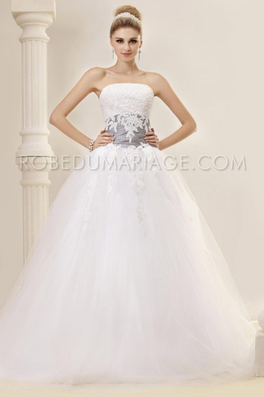 Princesse robe de mariée bustier tulle ruban applique