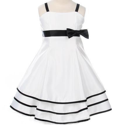... enfant > Robe de mariage enfant rayée satin ceinture noeud pas cher