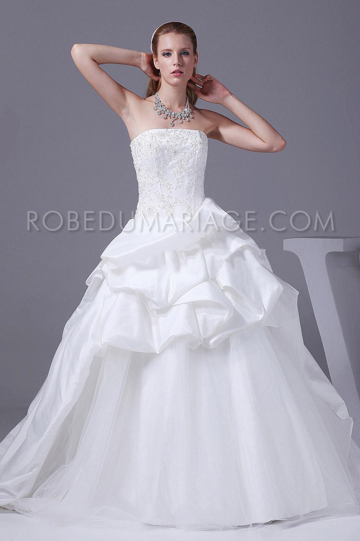 37115e5b29298 Robe de mariée taffetas bouillonnée bustier pas cher grande taille ...