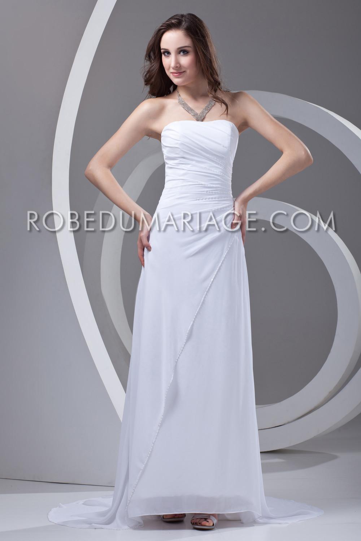 Robe pour un mariage double couches en chiffon bustier for Robes de mariage double baie