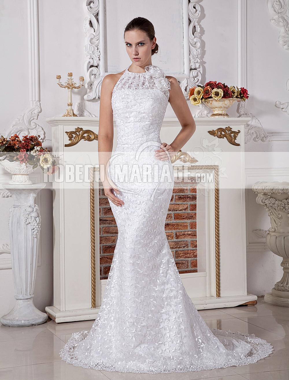 Robe de mariée moderne satin dentelle fleur sirène robe pas cher [# ...