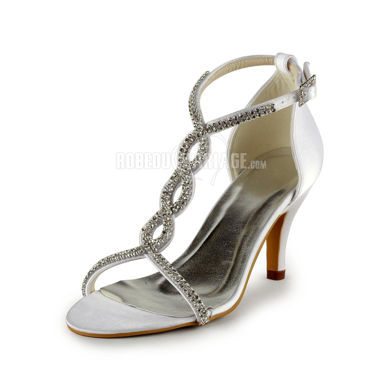 chaussures de c r monie ou mari e avec talon haut en satin perles t robe207215. Black Bedroom Furniture Sets. Home Design Ideas