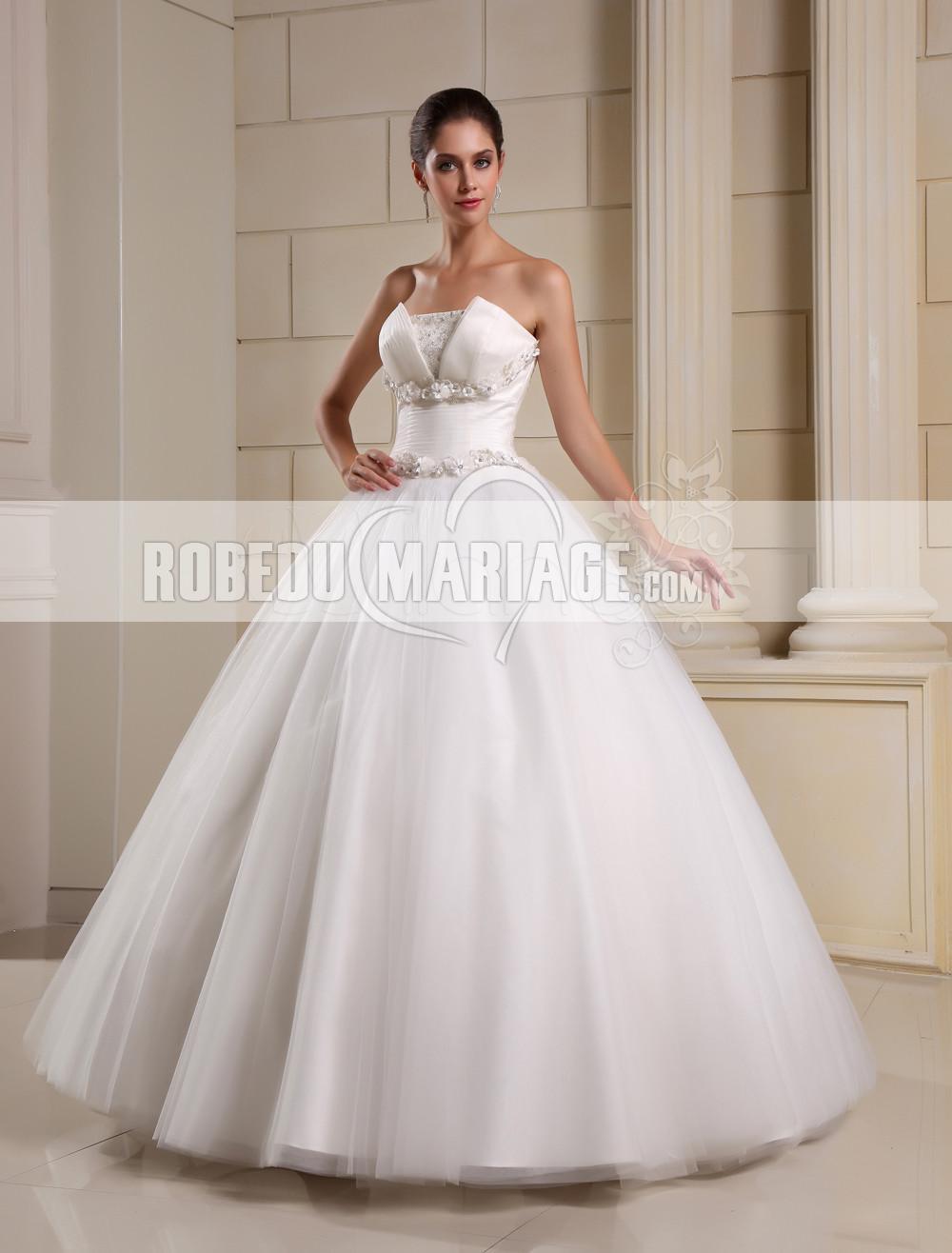 Robe de mariée princesse bustier tulle jupe volume fleur pas cher sur mesure
