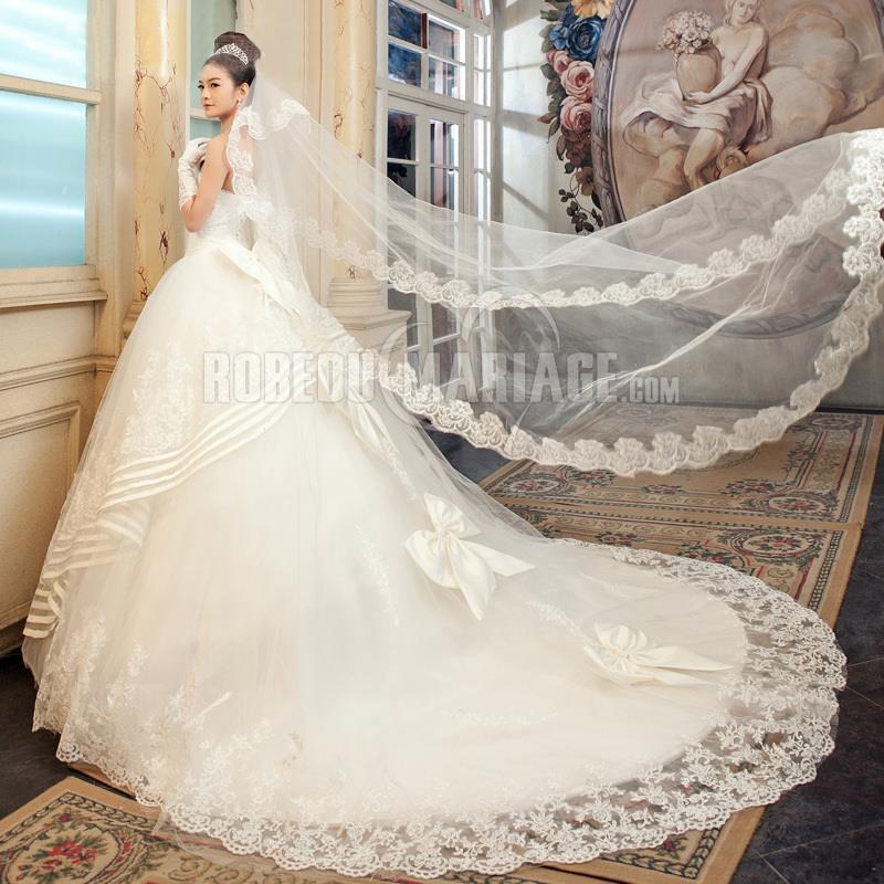 Extrêmement Sans bretelle robe de mariée dentelle tulle bustier robe sur  LE66
