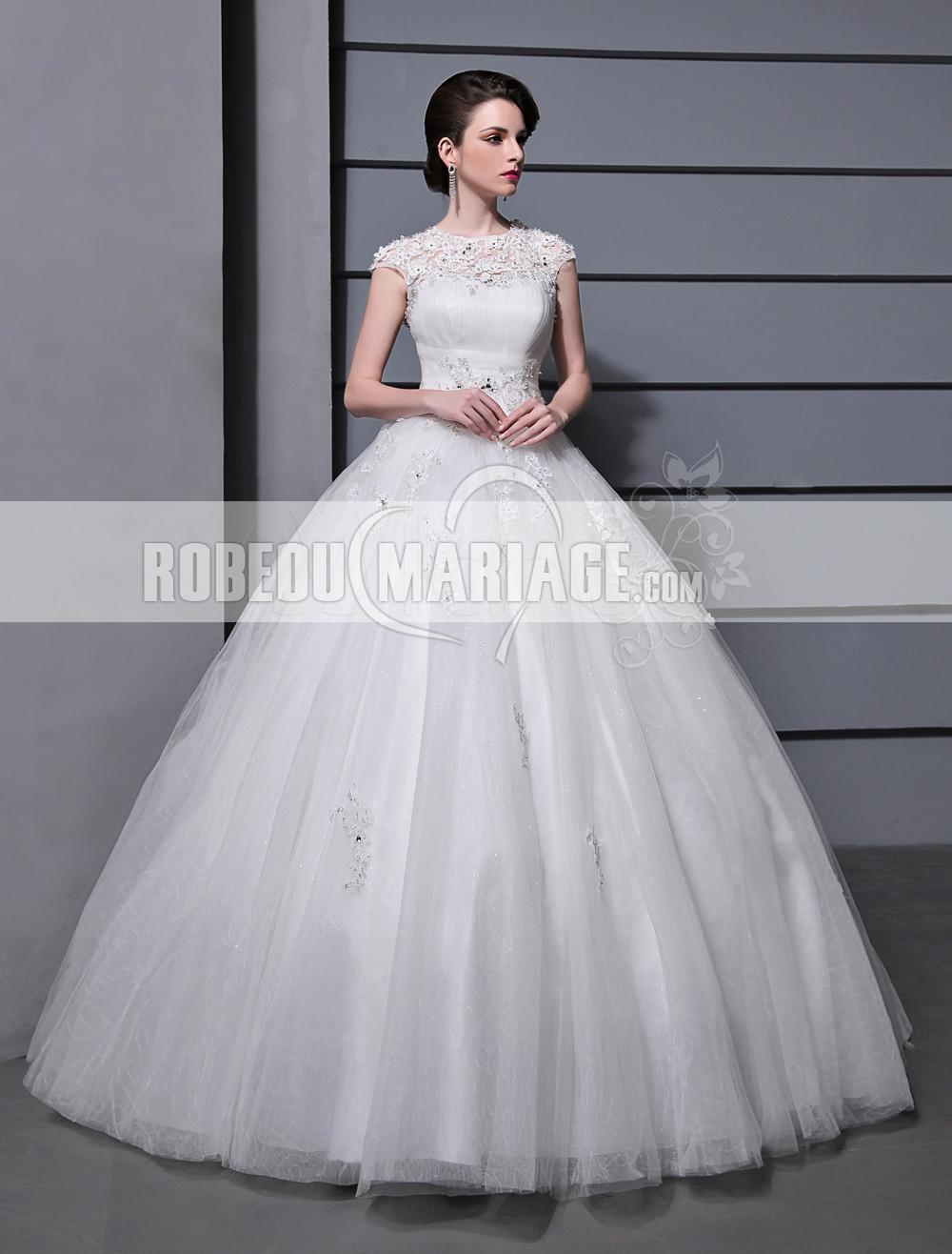 Tulle applique robe de mariage en satin col haut manches for Robes de mariage haut de gamme