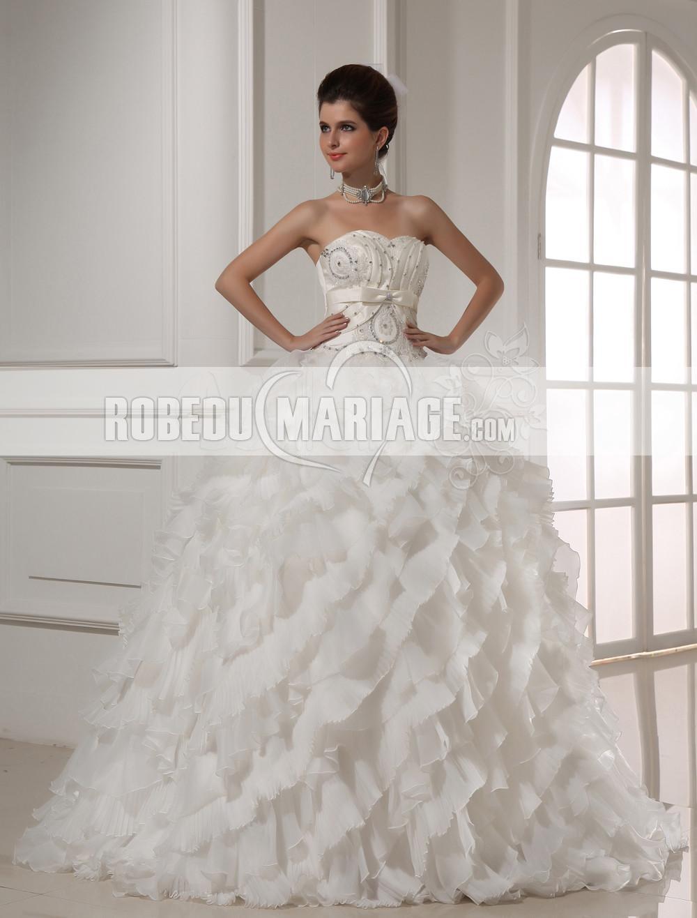 ... de luxe > Fantaisie robe de mariée pas cher bustier volanté organza