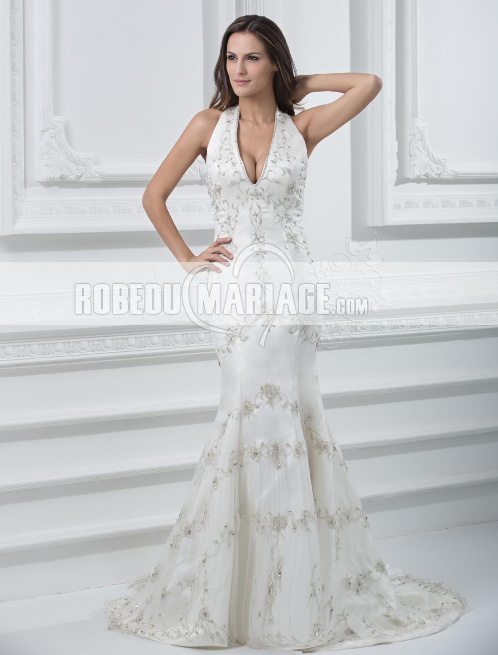 ... de mariée classique > Classique col en v robe de mariée pas cher