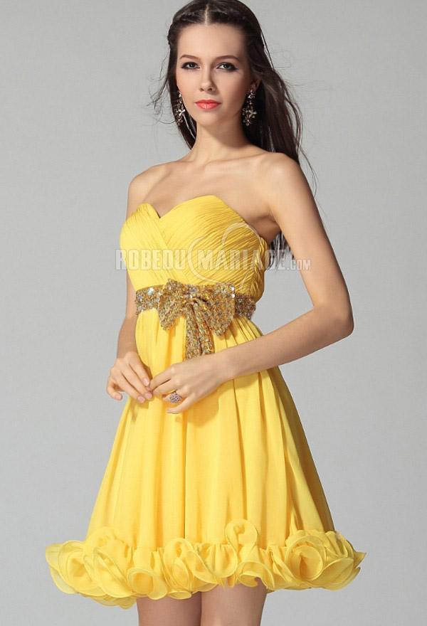 Robe cocktail jaune et noir