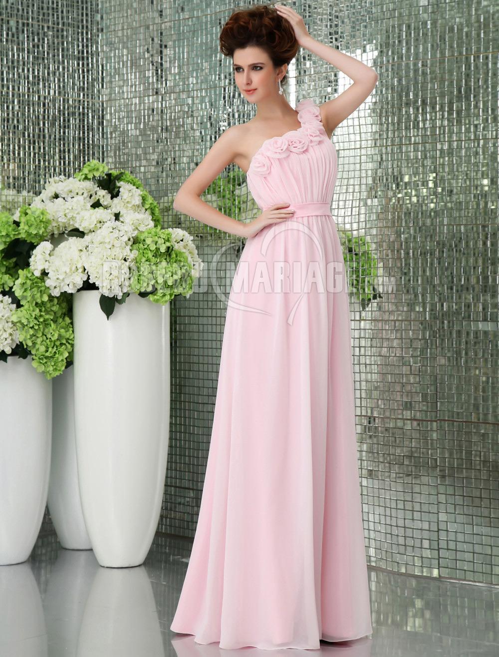 Robe Demoiselle D Honneur Epaule Asymetrique Pas Cher Papillon Chiffon Empire Robe207785 Robedumariage Com