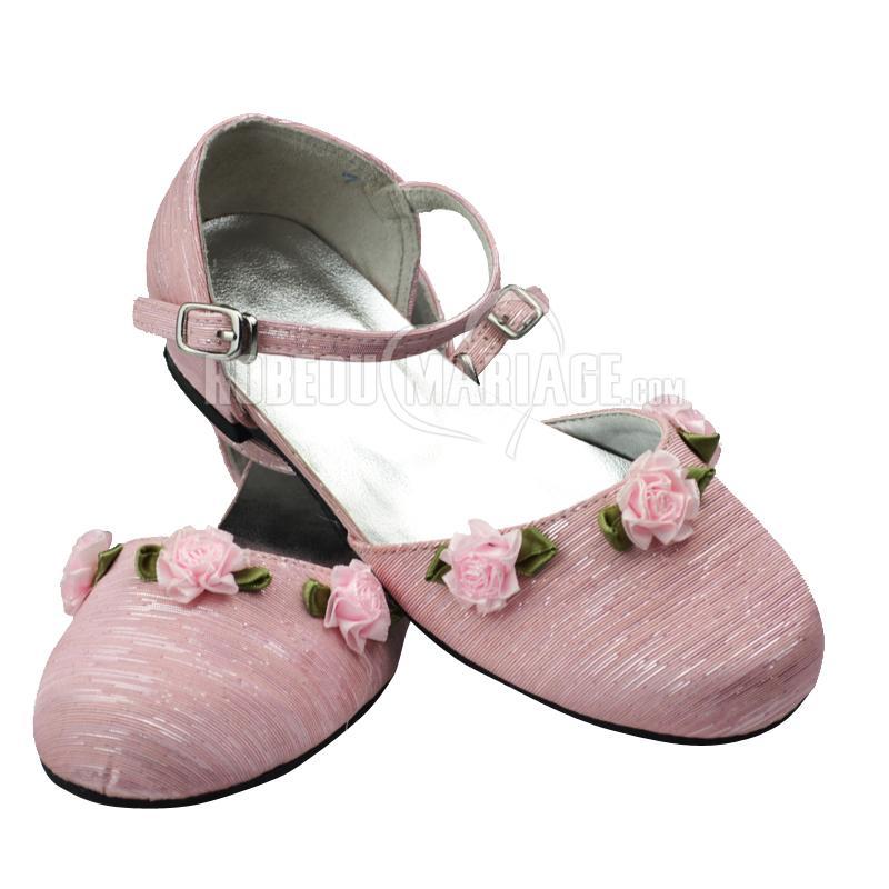 des fleurs satin chaussures de mariage fille pas cher robe208489. Black Bedroom Furniture Sets. Home Design Ideas