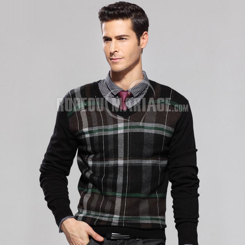 meilleur service 349b9 fc289 Col en v pull en laine pas cher pour homme carreaux ...
