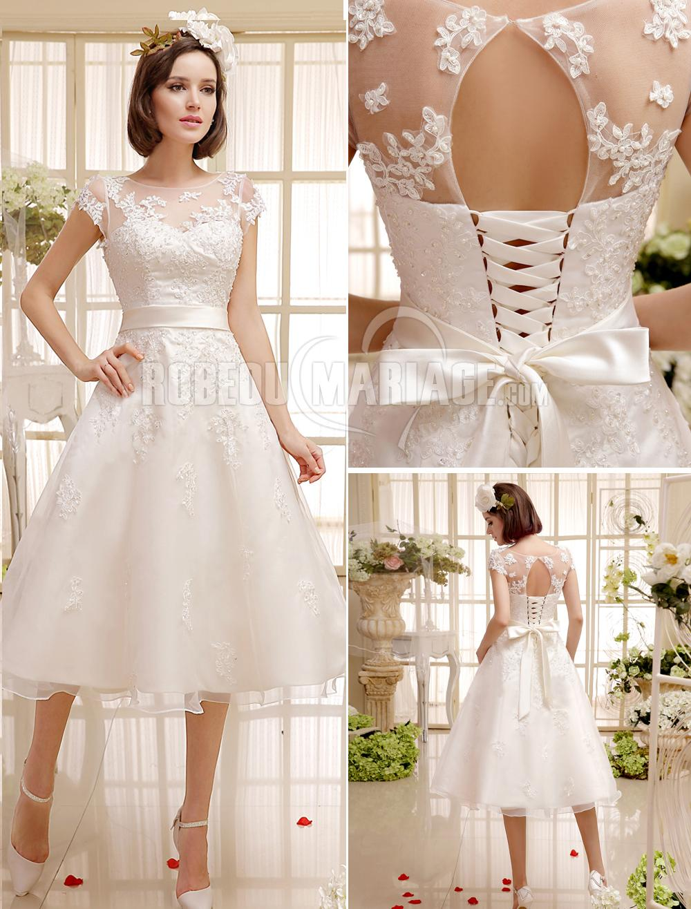 3f900faf243 Col montant robe de mariée civile ceinture satin dentelle ...