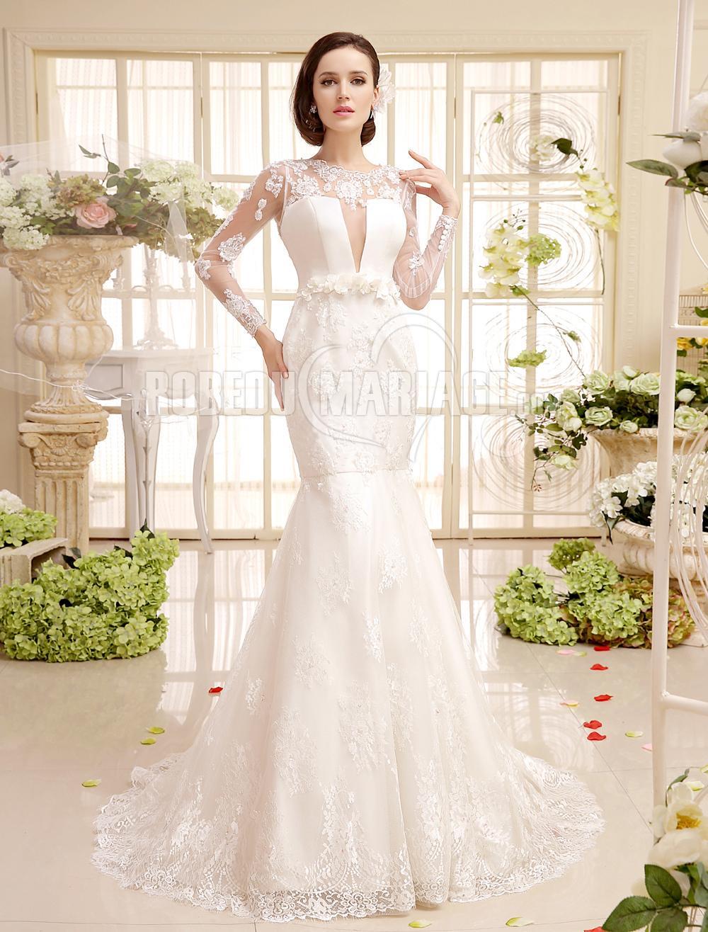 manches longue robe de mari e dentelle satin col haut robe209229. Black Bedroom Furniture Sets. Home Design Ideas