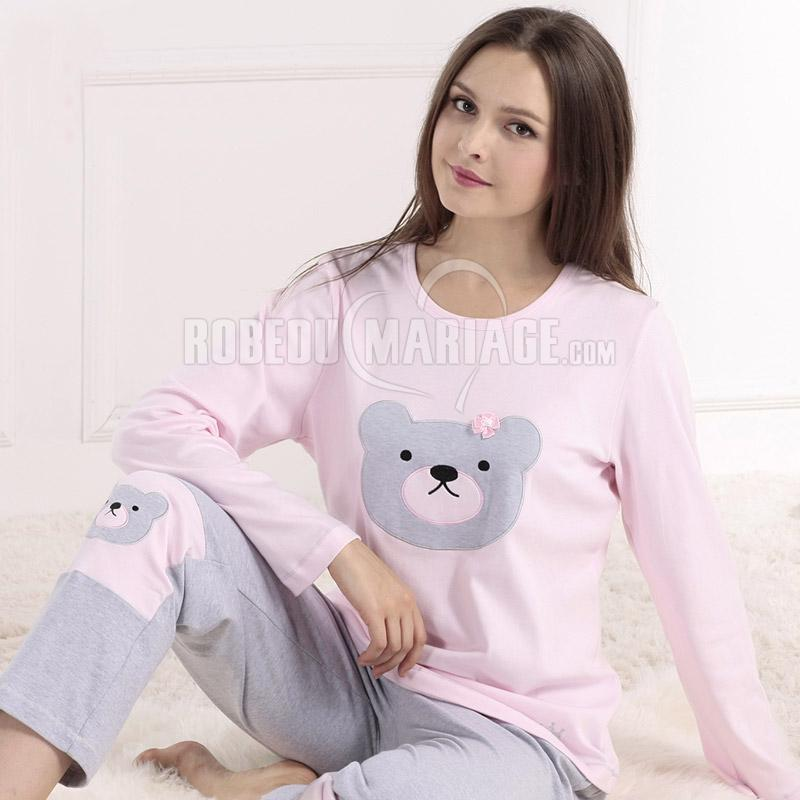 ours manches longue pyjama en coton pour femme confortable robe209379. Black Bedroom Furniture Sets. Home Design Ideas