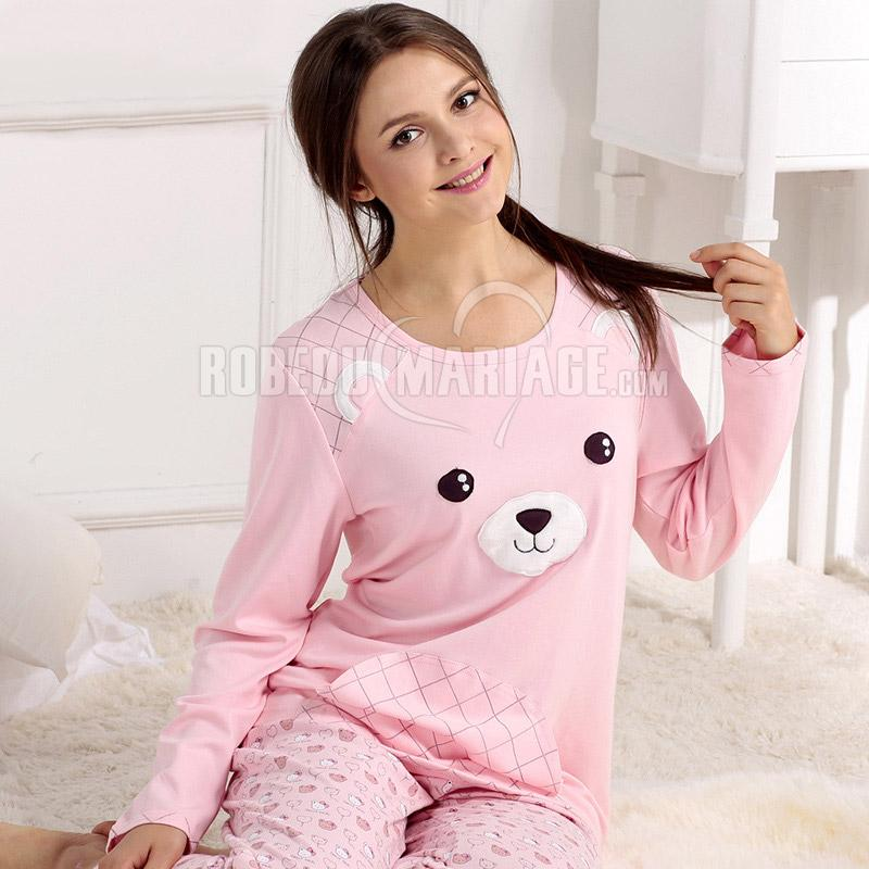 manches longue pyjama d 39 hiver pas cher coton col rond. Black Bedroom Furniture Sets. Home Design Ideas