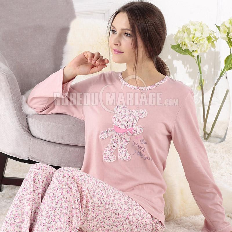 coton manches longue pyjama d 39 hiver pour femme pas cher robe209361. Black Bedroom Furniture Sets. Home Design Ideas