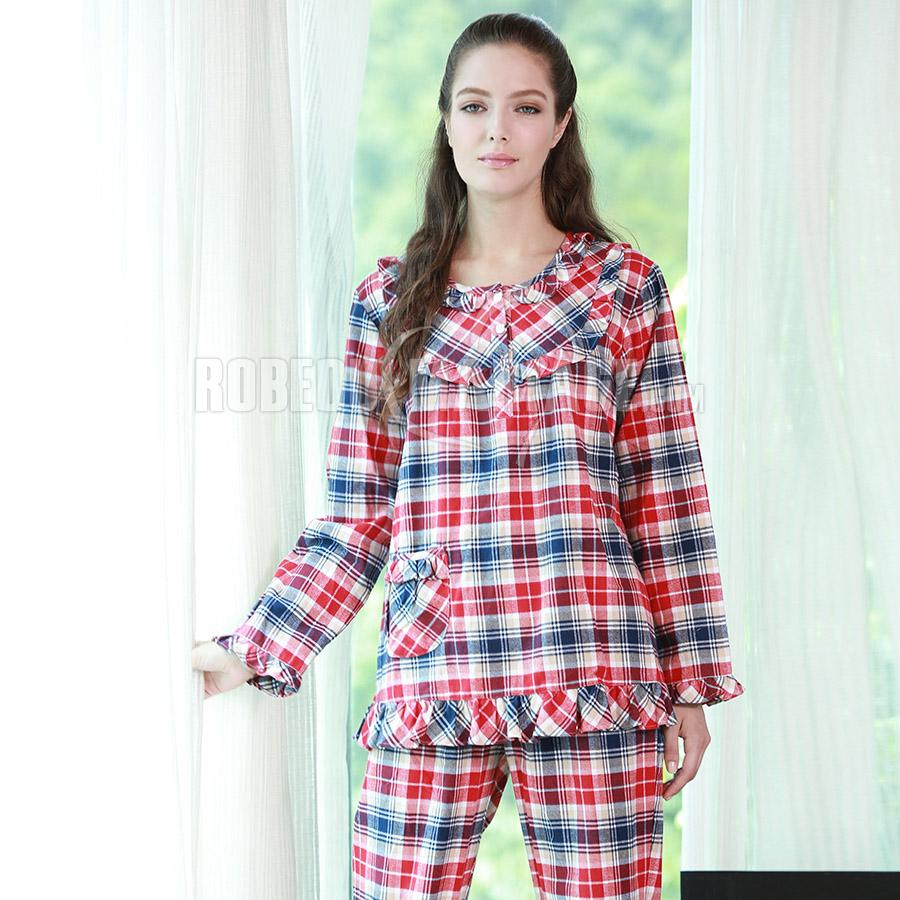 coton carreaux manches longues pyjama pas cher robe209348. Black Bedroom Furniture Sets. Home Design Ideas