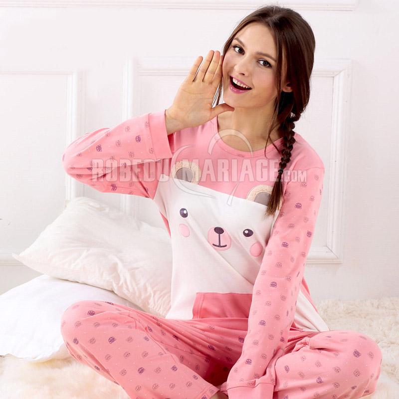 col rond pyjama femme d 39 hiver en tissu coton manches longue robe209363. Black Bedroom Furniture Sets. Home Design Ideas