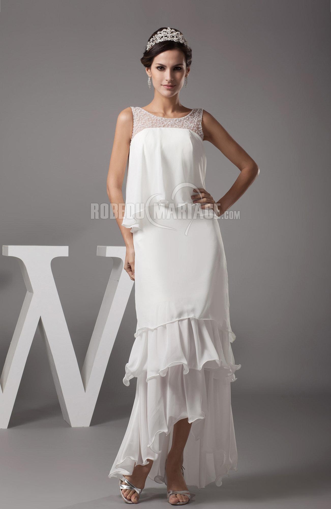 > Robe de mariage > Robe de mariée civile > Traîne watteau robe de ...