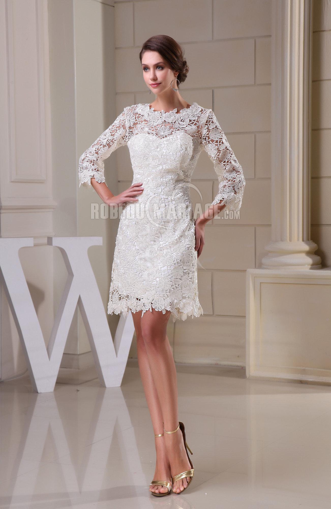 ca958d51a2898 Loading zoom. Manches mi-longue robe de mariée col haut dentelle longueur  aux genoux. ID  ROBE209703