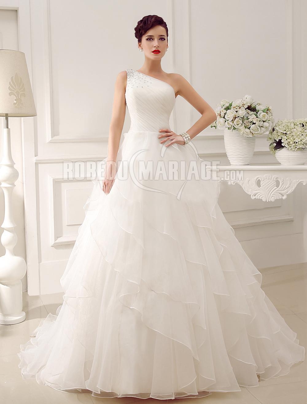 ligne robe de mariée princesse asymétrique organza paillette [# ...