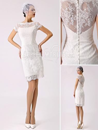 Accueil > Robe de mariage > Robe de mariée civile > Col haut robe de...