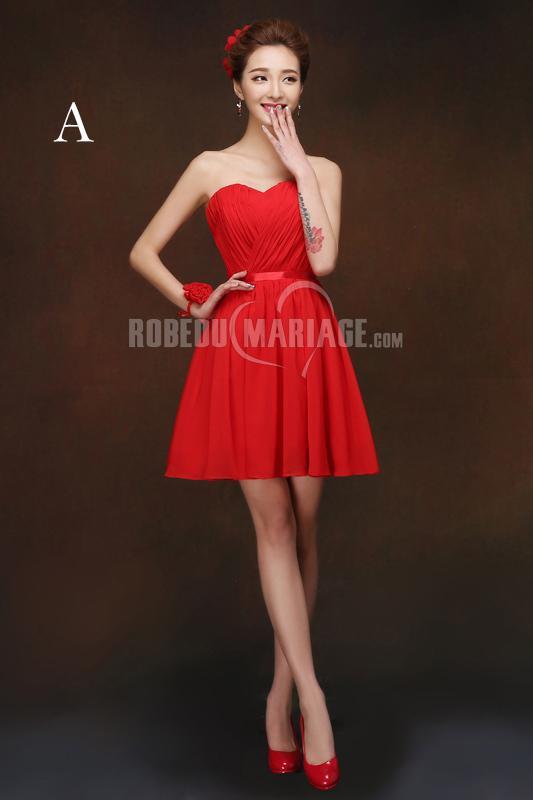 Rouge Robe De Ceremonie Courte Chiffon Robe Pas Cher Robe2010546 Robedumariage Com