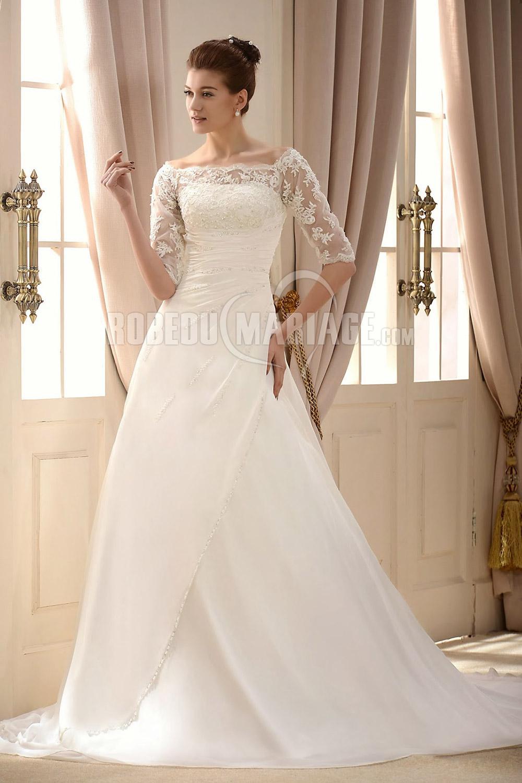 longue robe de mariée en dentelle et satin pas cher à traîne courte ...