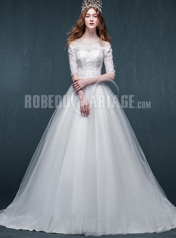 Robe de mariée pas cher organza col en dentelle longueur au sol [# ...