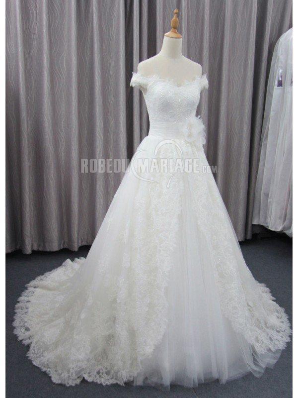 robe de mariée A-ligne 2016 en dentelle et tulle avec fleur pas cher ...