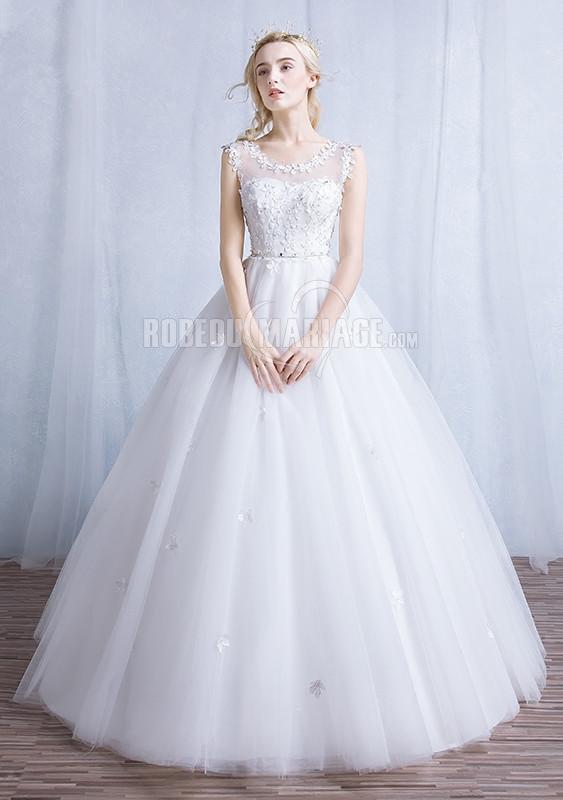 Robedumariage FR Jupe ample robe de mariée col rond sans manches en dentelle tulle pas cher