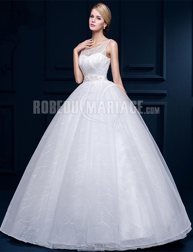 ... princesse > Col rond robe de mariée princesse en belle tulle pas cher