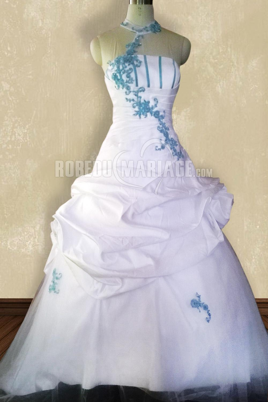Photo r elle robe de mariage couleur fleurs appliques col for Robes de mariage bleu ciel