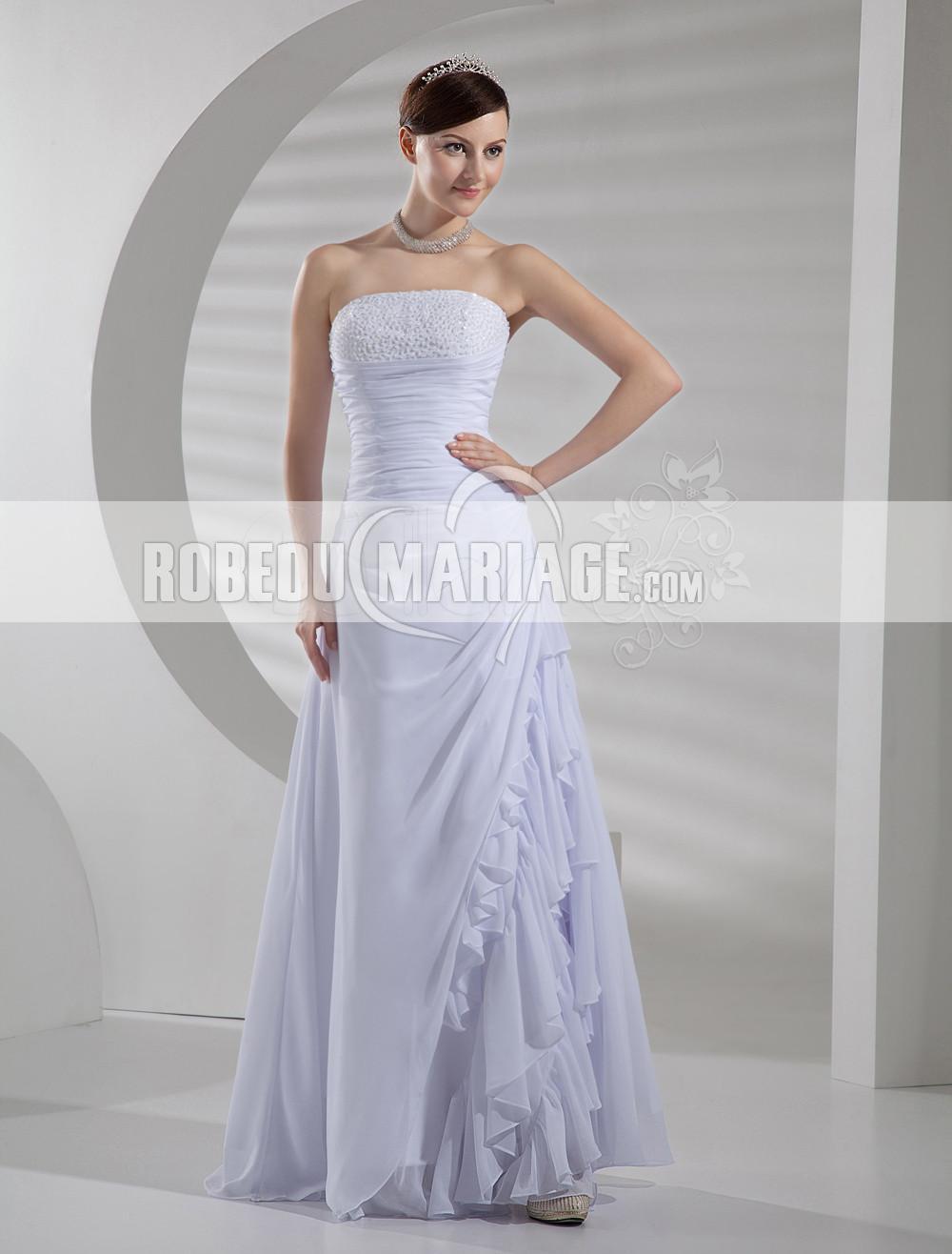 ... vintage > Robe de mariée vintage en chiffon avec perles pas cher