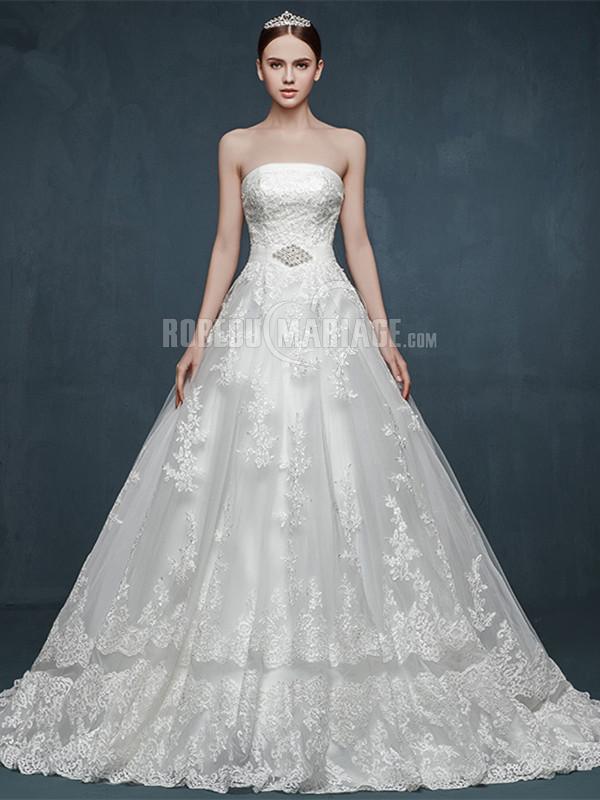 Robe de mariée en dentelle avec traîne courte pas cher [#ROBE2011502 ...
