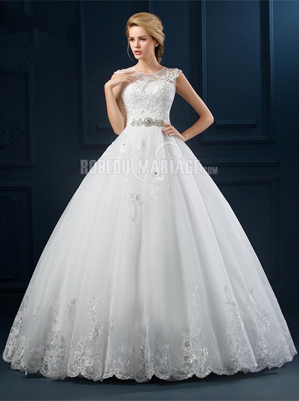 Robedumariage FR Ceinture perles robe de mariée princesse en dentelle col rond pas cher