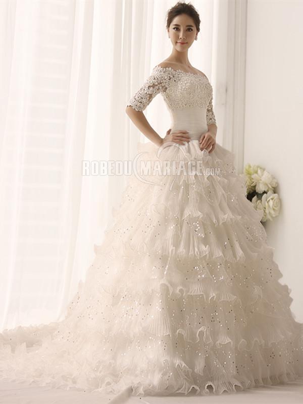 Robedumariage FR Organza robe de mariée épaule dégagée paillettes traîne balayée