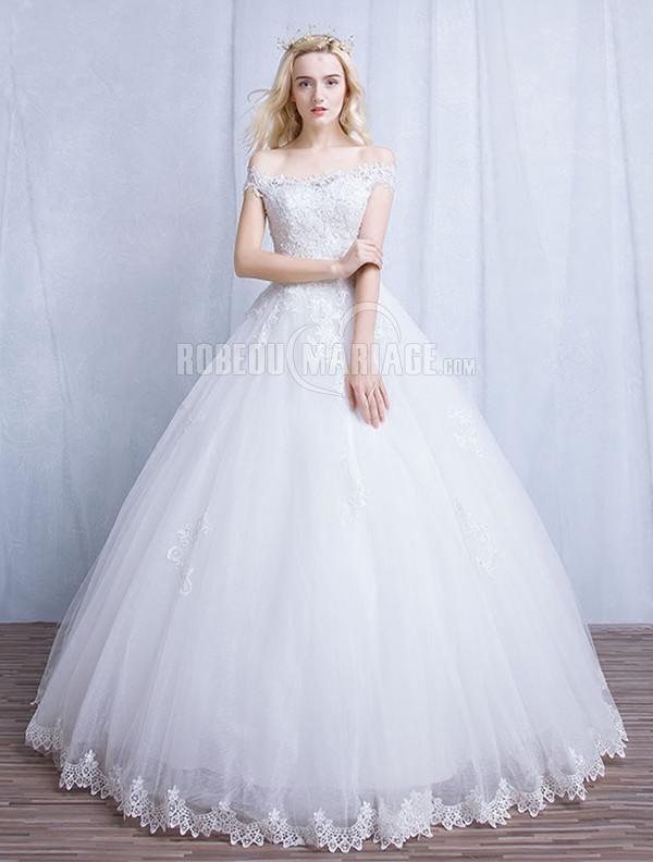Col en bateau robe de mariée princesse en dentelle pas cher [# ...