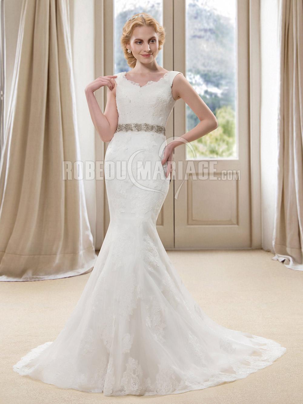2016 robe de mariée sirène en dentelle avec ceinture strass pas cher ...